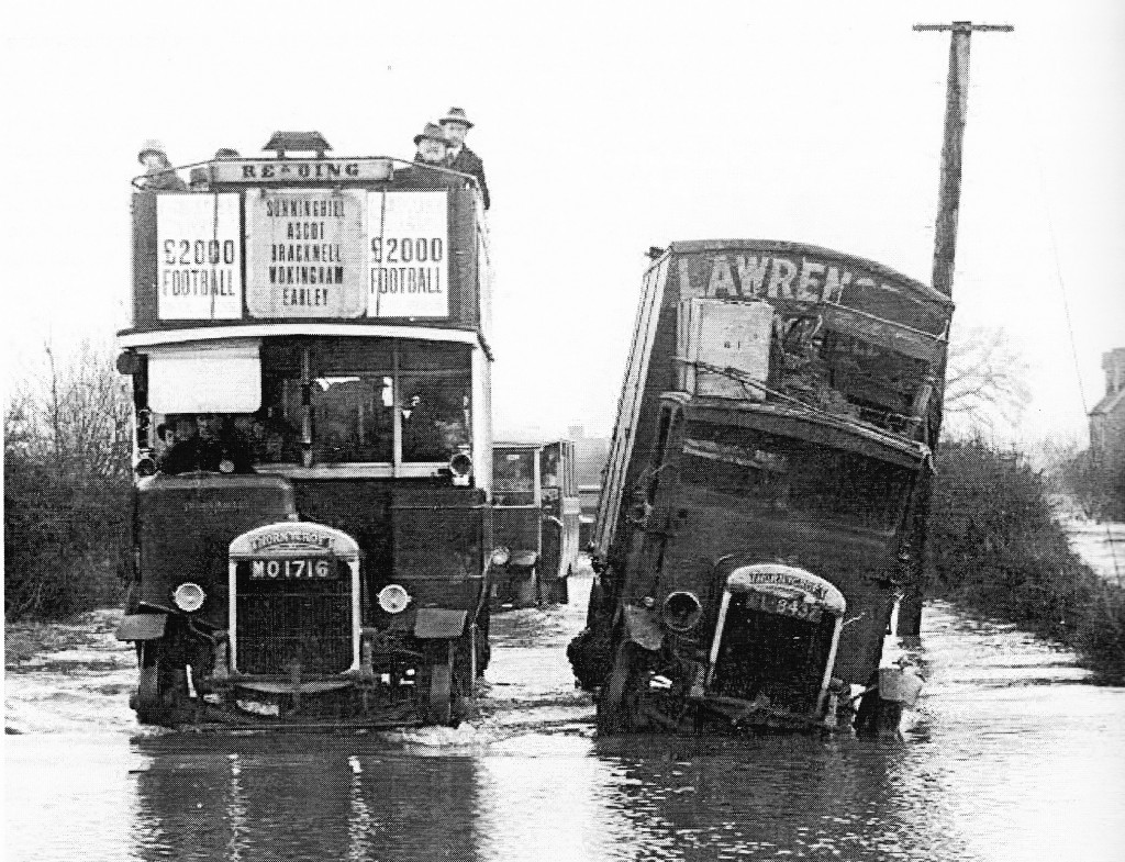 january 1928 thornycroft bus reading flood
