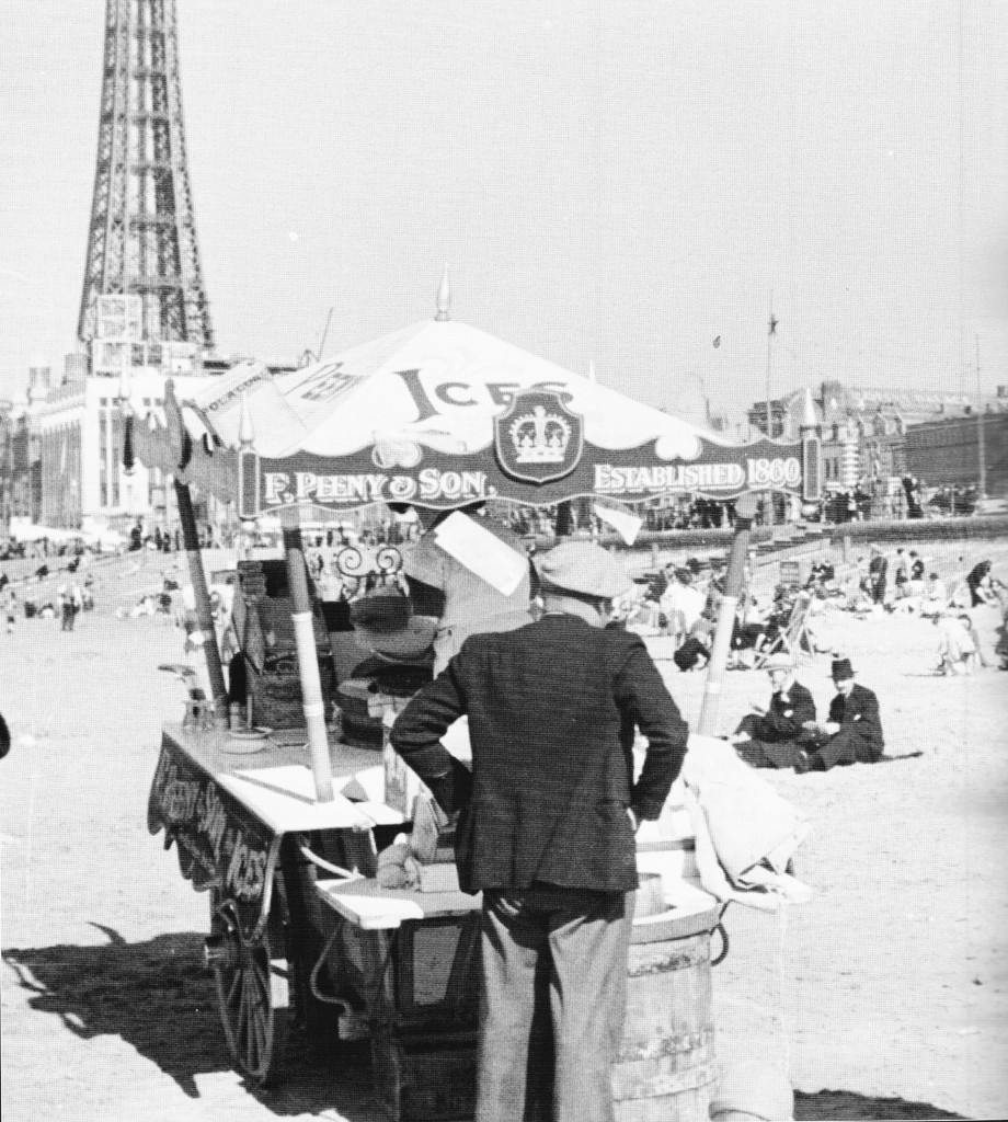 ice cream on the beach, blackpool memories