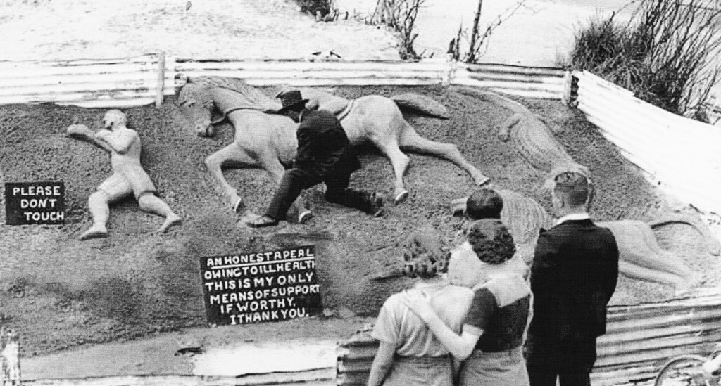 southport - we can only admire the craft of the sand artist as he creates marvellous tableaux from sand, 4 july 1936 making animals and human figures